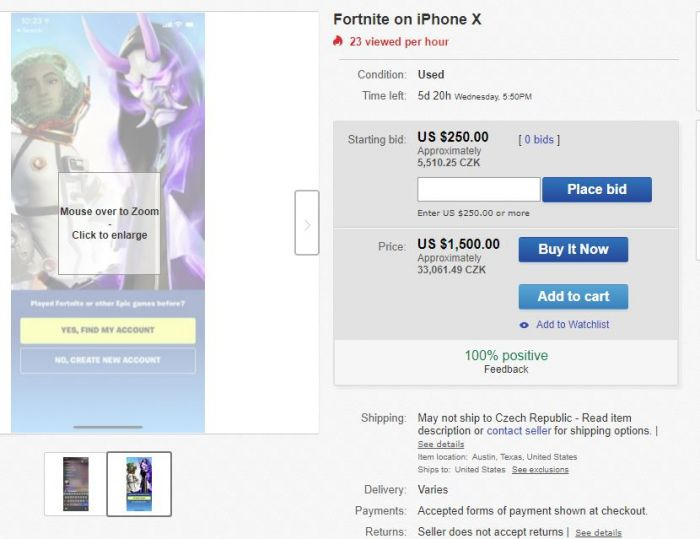 The Iphone With The Game Fortnite Costs Thousands Of Euros On Ebay