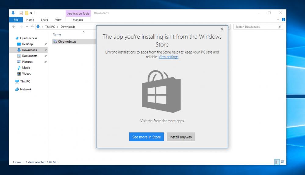 00023f374 Ak Microsoft zabudoval funkciu pre firmy či školy, aby obmedzil používateľov  inštalovať aplikácie tretích strán nemusí to byť trestuhodné, práve naopak.